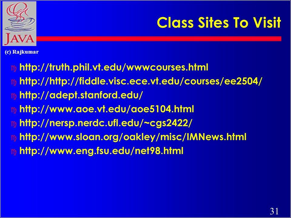 31 (c) Rajkumar Class Sites To Visit c http://truth.phil.vt.edu/wwwcourses.html c http://http://fiddle.visc.ece.vt.edu/courses/ee2504/ c http://adept.stanford.edu/ c http://www.aoe.vt.edu/aoe5104.html c http://nersp.nerdc.ufl.edu/~cgs2422/ c http://www.sloan.org/oakley/misc/IMNews.html c http://www.eng.fsu.edu/net98.html