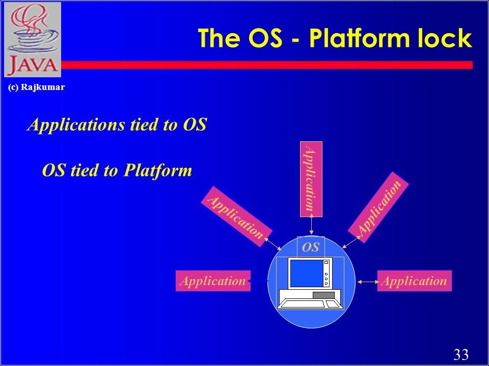 33 (c) Rajkumar The OS - Platform lock Application OS Applications tied to OS OS tied to Platform