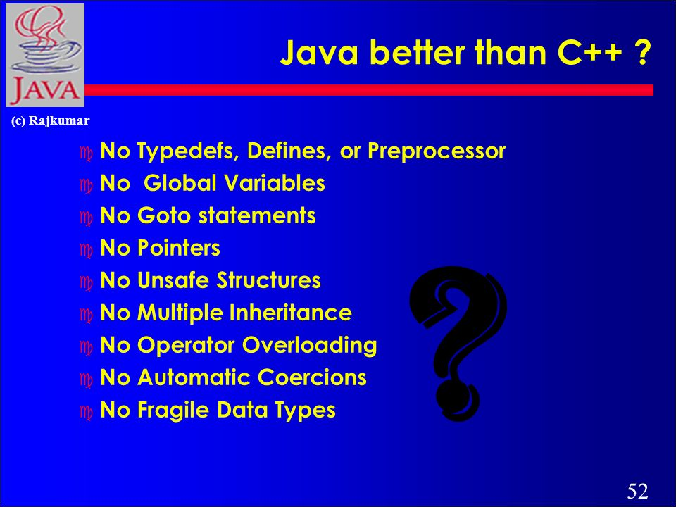52 (c) Rajkumar Java better than C++ .