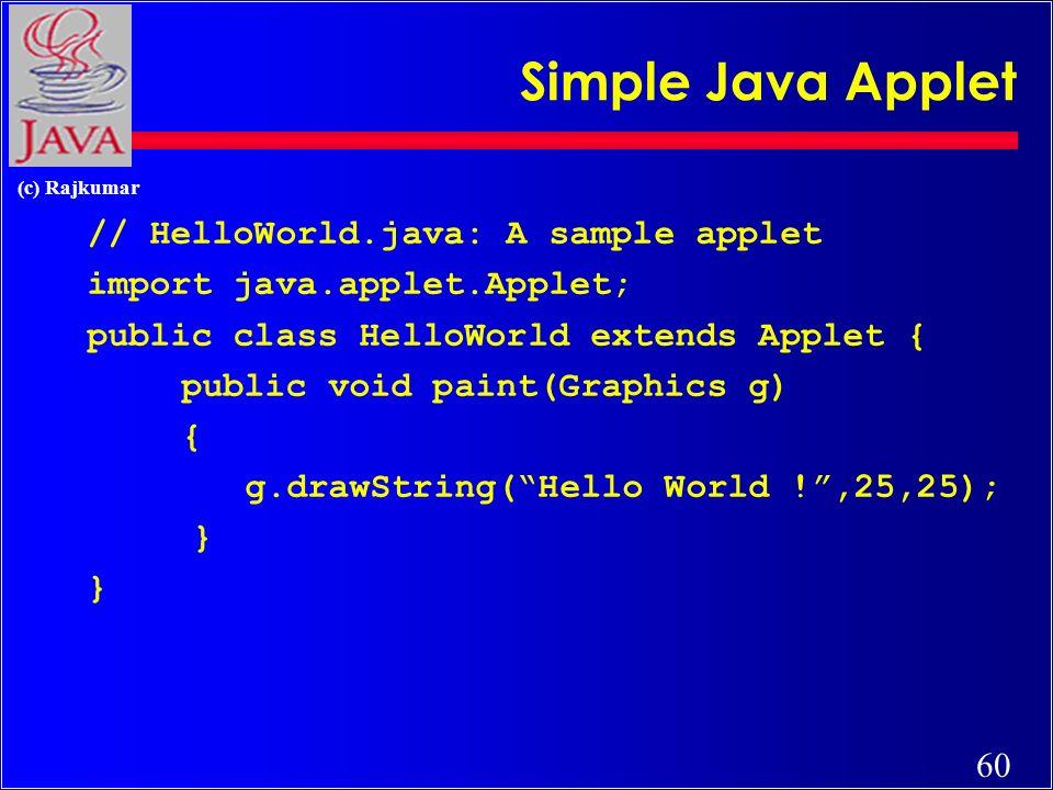 60 (c) Rajkumar Simple Java Applet // HelloWorld.java: A sample applet import java.applet.Applet; public class HelloWorld extends Applet { public void paint(Graphics g) { g.drawString(Hello World !,25,25); }