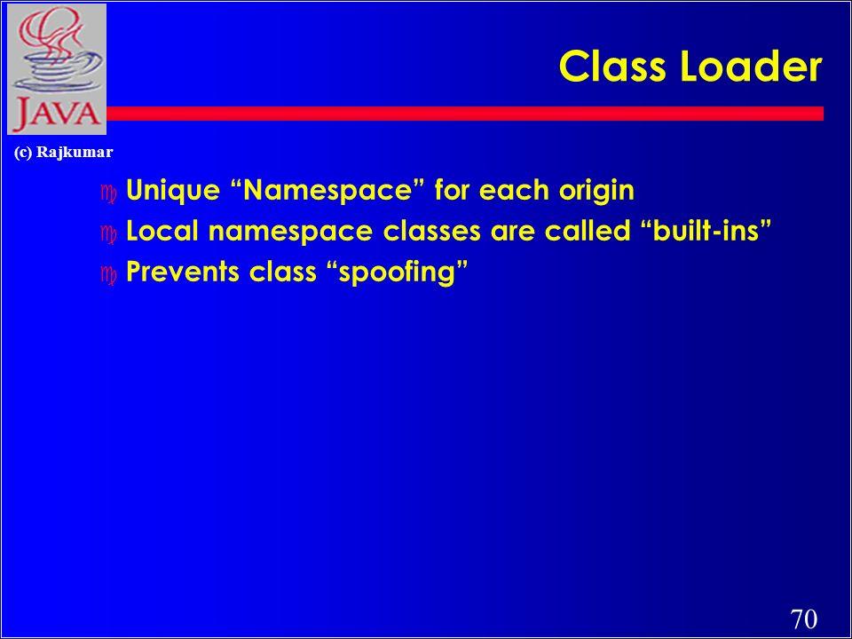 70 (c) Rajkumar Class Loader c Unique Namespace for each origin c Local namespace classes are called built-ins c Prevents class spoofing