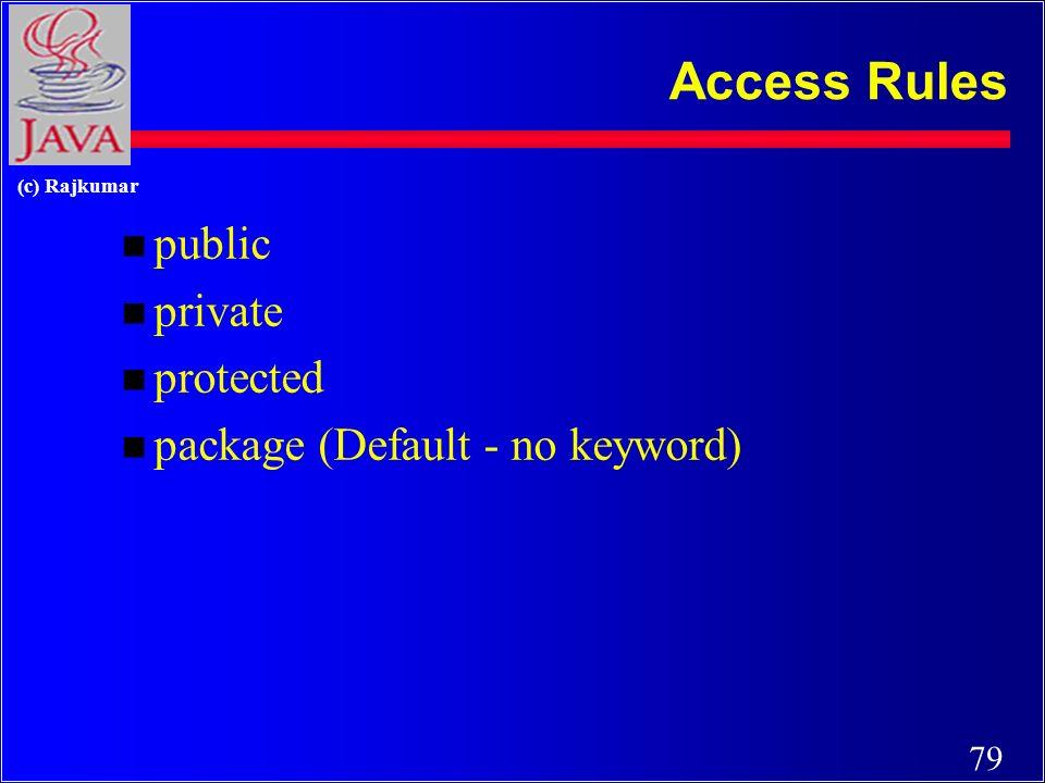 79 (c) Rajkumar Access Rules n public n private n protected n package (Default - no keyword)