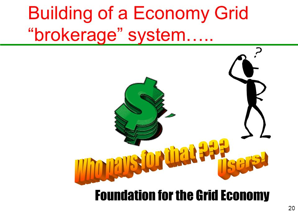 20 Building of a Economy Grid brokerage system….. Foundation for the Grid Economy