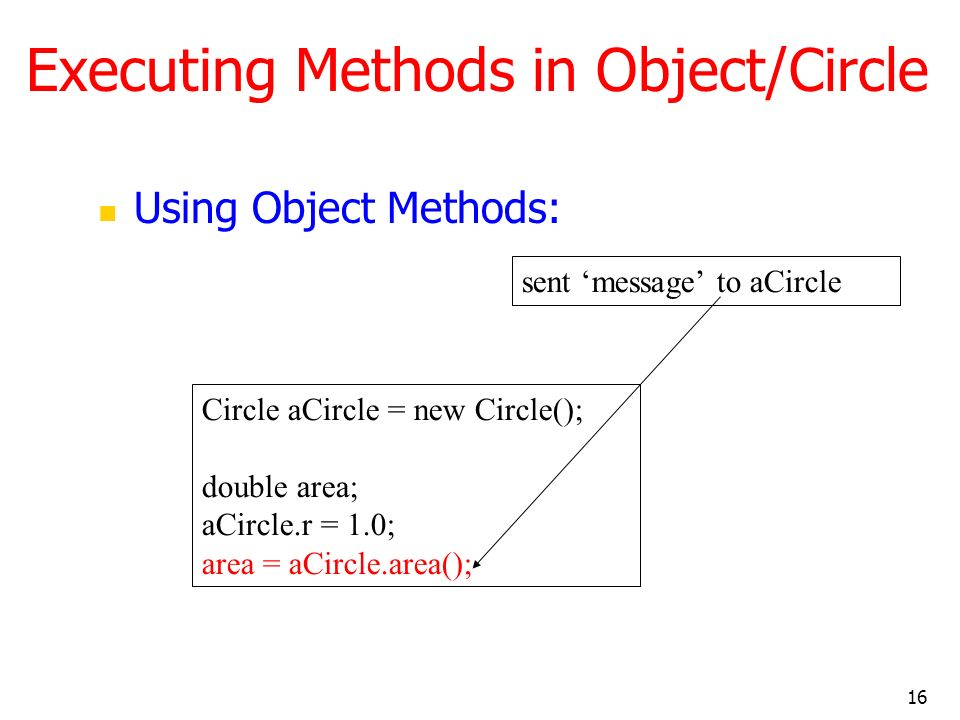 16 Executing Methods in Object/Circle Using Object Methods: Circle aCircle = new Circle(); double area; aCircle.r = 1.0; area = aCircle.area(); sent message to aCircle