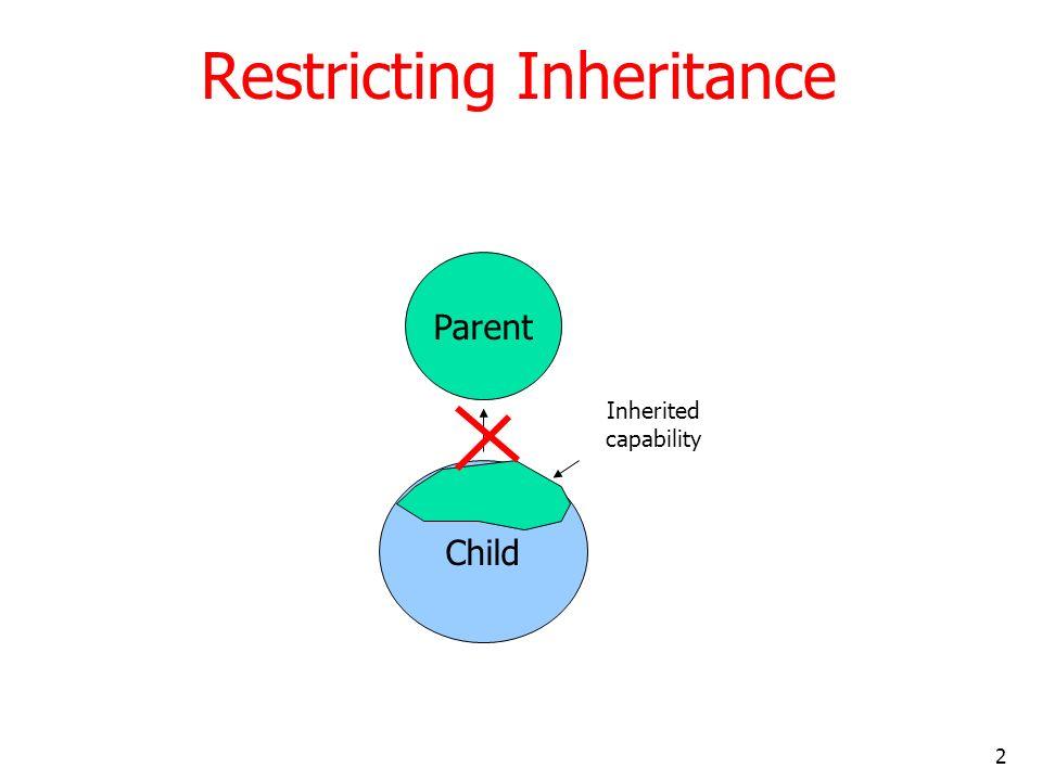 2 Restricting Inheritance Parent Child Inherited capability