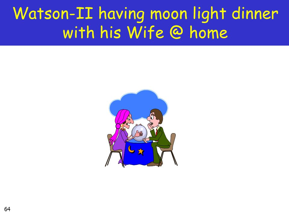 64 Watson-II having moon light dinner with his Wife @ home