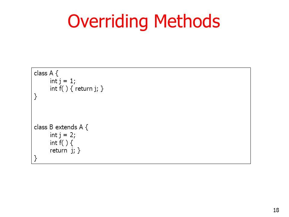 18 Overriding Methods class A { int j = 1; int f( ) { return j; } } class B extends A { int j = 2; int f( ) { return j; } }