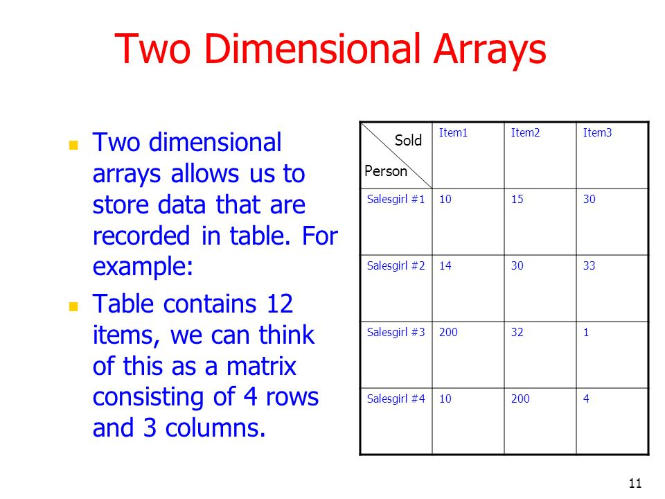 11 Two Dimensional Arrays Two dimensional arrays allows us to store data that are recorded in table. For example: Table contains 12 items, we can thin