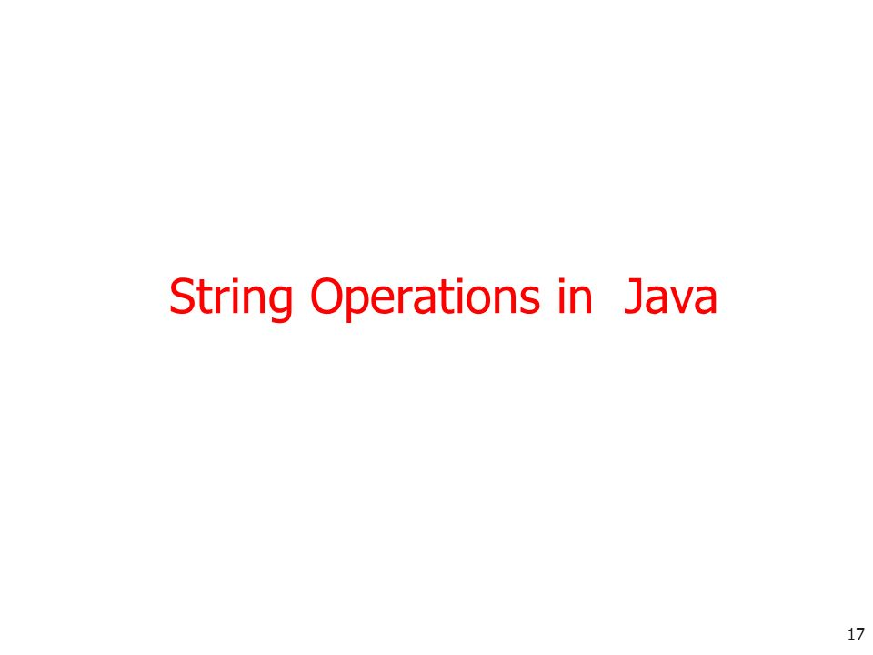 17 String Operations in Java