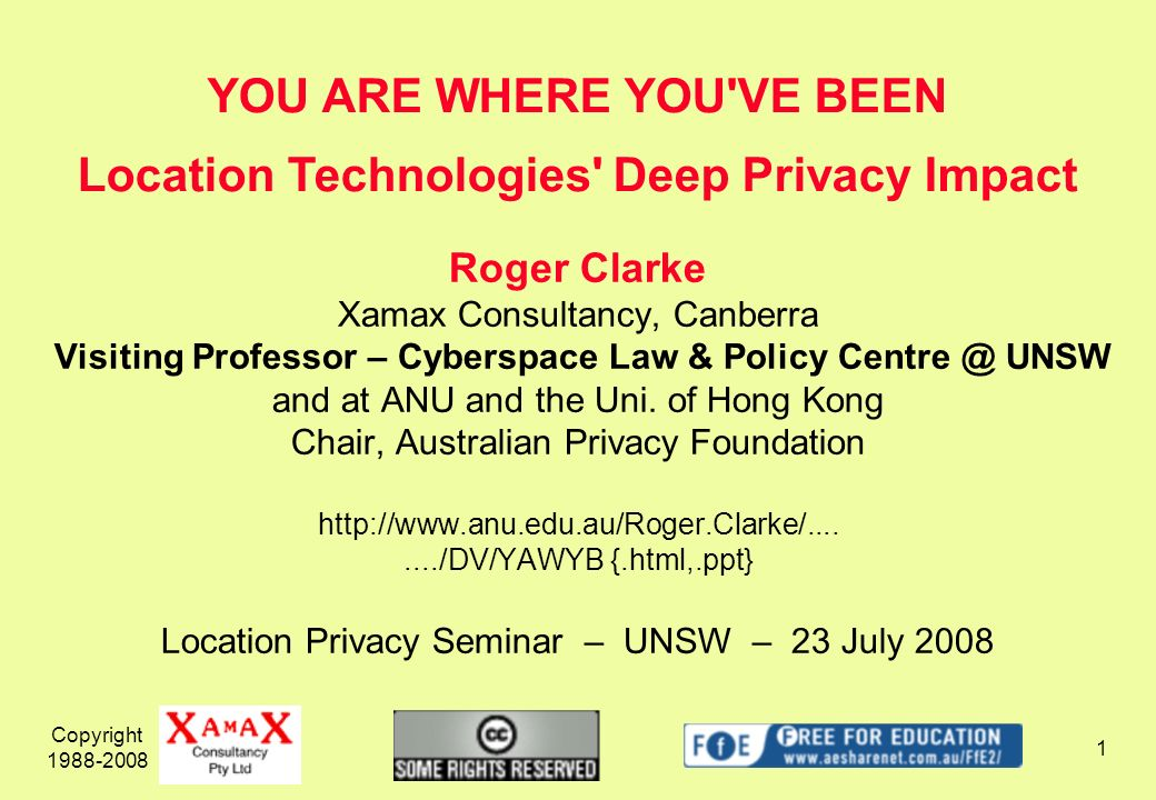 Copyright 1988-2008 1 Roger Clarke Xamax Consultancy, Canberra Visiting Professor – Cyberspace Law & Policy Centre @ UNSW and at ANU and the Uni.
