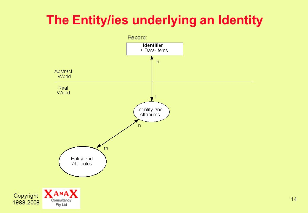 Copyright 1988-2008 14 The Entity/ies underlying an Identity