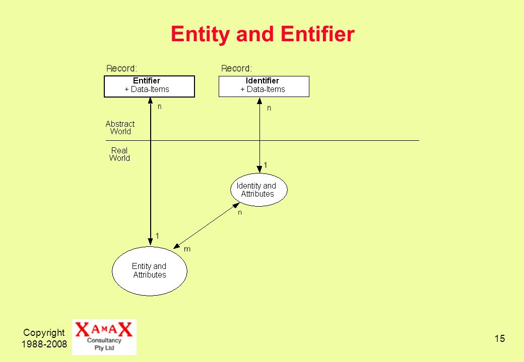 Copyright 1988-2008 15 Entity and Entifier
