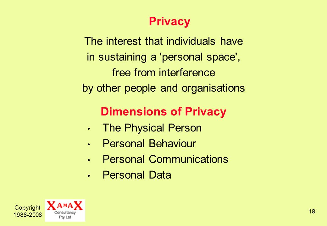 Copyright 1988-2008 18 Privacy The interest that individuals have in sustaining a personal space , free from interference by other people and organisations Dimensions of Privacy The Physical Person Personal Behaviour Personal Communications Personal Data
