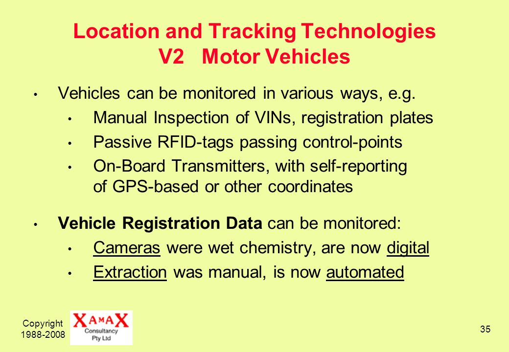 Copyright 1988-2008 35 Location and Tracking Technologies V2 Motor Vehicles Vehicles can be monitored in various ways, e.g.