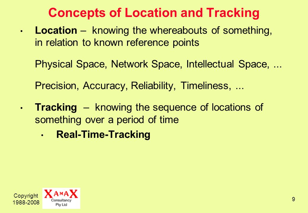 Copyright 1988-2008 9 Concepts of Location and Tracking Location – knowing the whereabouts of something, in relation to known reference points Physical Space, Network Space, Intellectual Space,...
