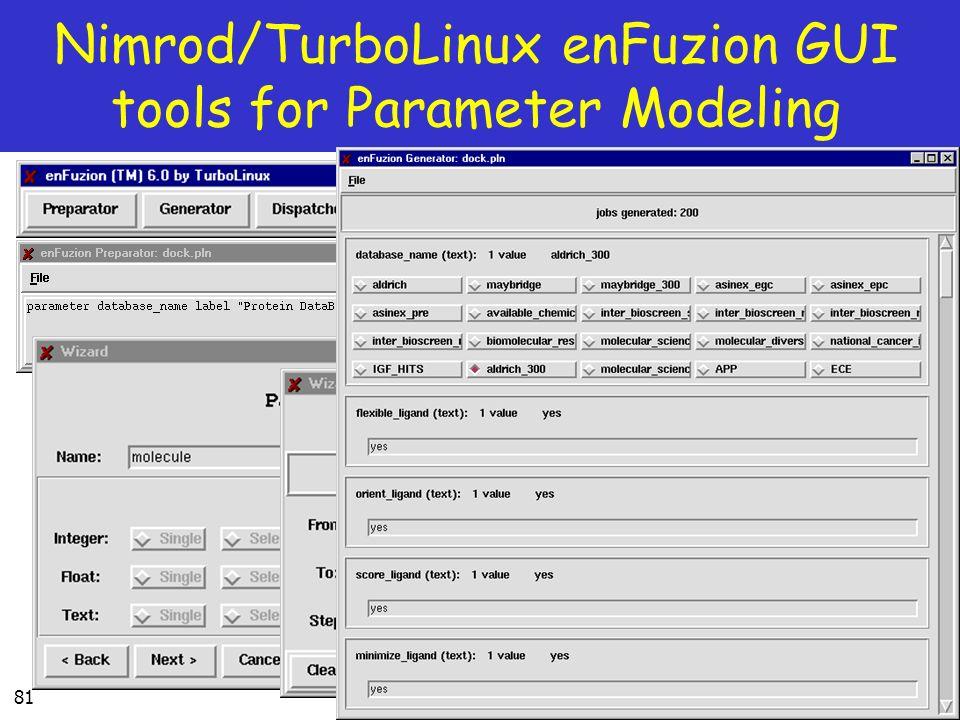 81 Nimrod/TurboLinux enFuzion GUI tools for Parameter Modeling