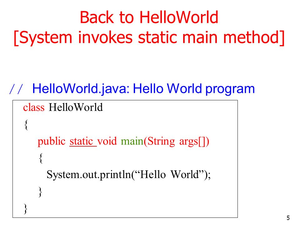 5 Back to HelloWorld [System invokes static main method] // HelloWorld.java: Hello World program class HelloWorld { public static void main(String args[]) { System.out.println(Hello World); }
