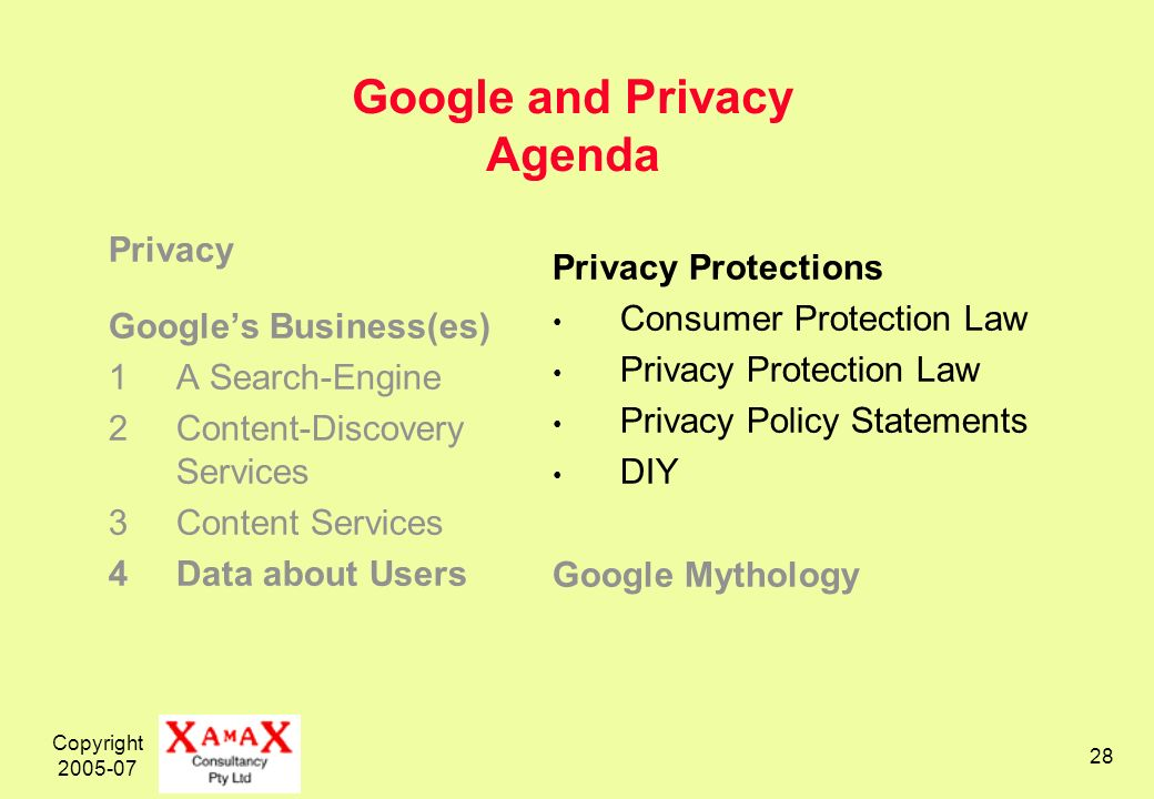 Copyright 2005-07 28 Google and Privacy Agenda Privacy Googles Business(es) 1A Search-Engine 2Content-Discovery Services 3Content Services 4Data about Users Privacy Protections Consumer Protection Law Privacy Protection Law Privacy Policy Statements DIY Google Mythology