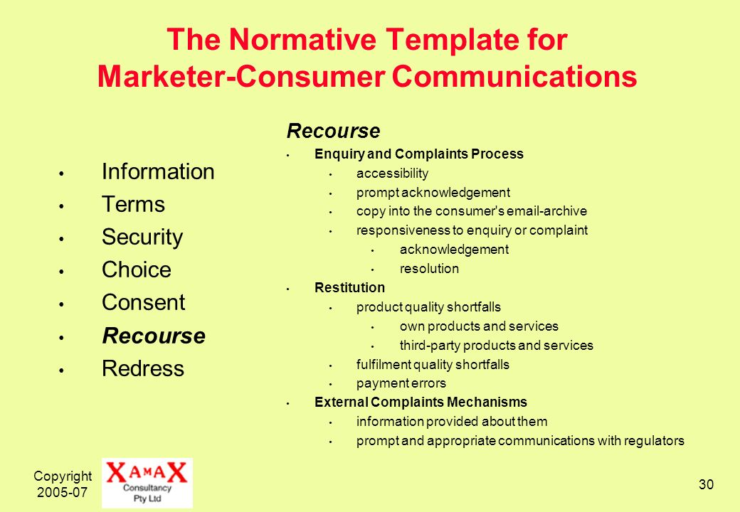 Copyright 2005-07 30 The Normative Template for Marketer-Consumer Communications Information Terms Security Choice Consent Recourse Redress Recourse Enquiry and Complaints Process accessibility prompt acknowledgement copy into the consumer s email-archive responsiveness to enquiry or complaint acknowledgement resolution Restitution product quality shortfalls own products and services third-party products and services fulfilment quality shortfalls payment errors External Complaints Mechanisms information provided about them prompt and appropriate communications with regulators