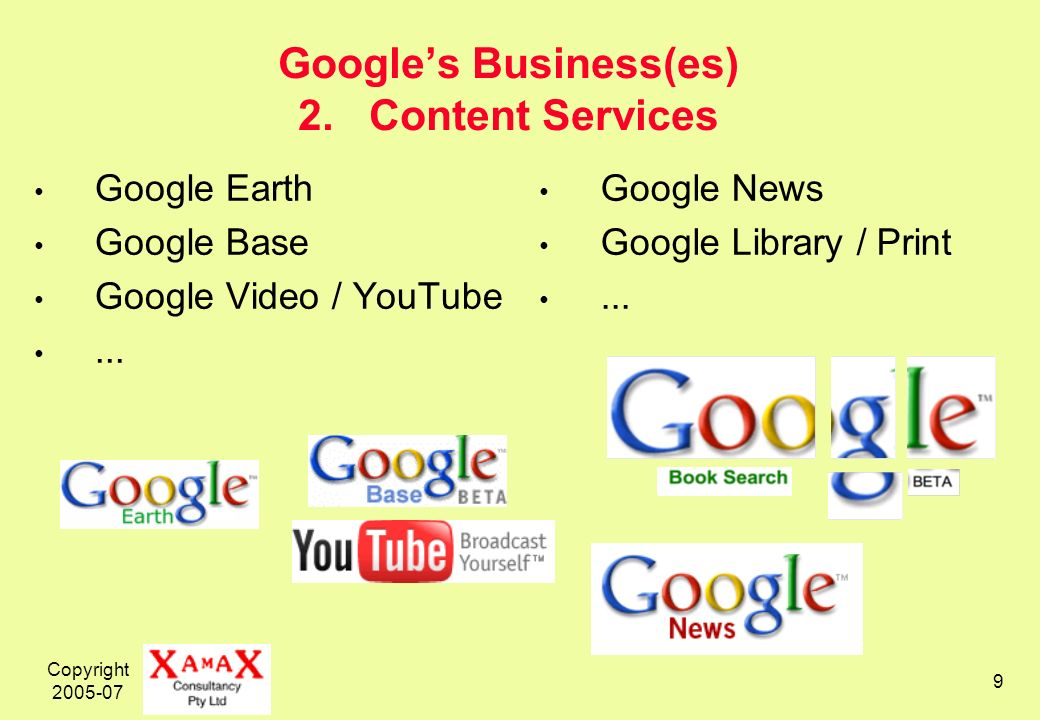 Copyright 2005-07 9 Googles Business(es) 2. Content Services Google Earth Google Base Google Video / YouTube... Google News Google Library / Print...
