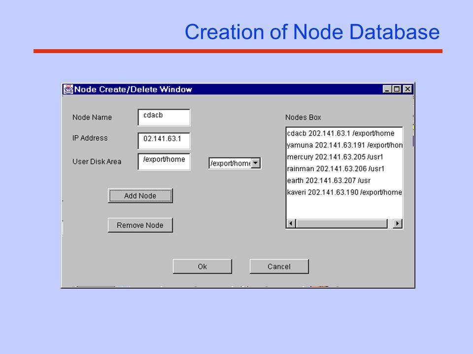 Creation of Node Database