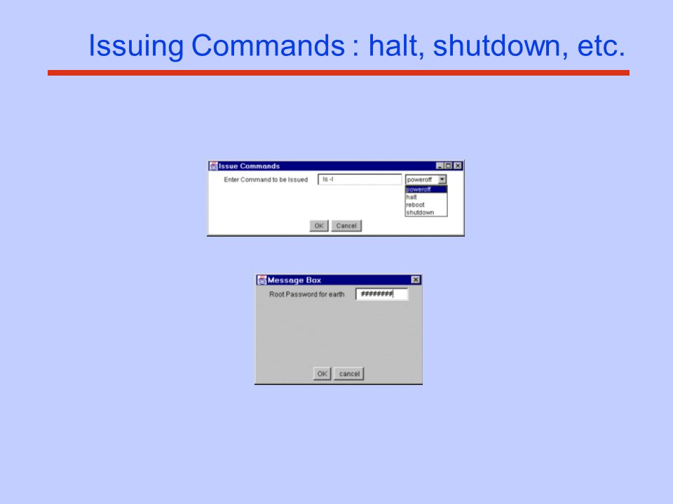 Issuing Commands : halt, shutdown, etc.