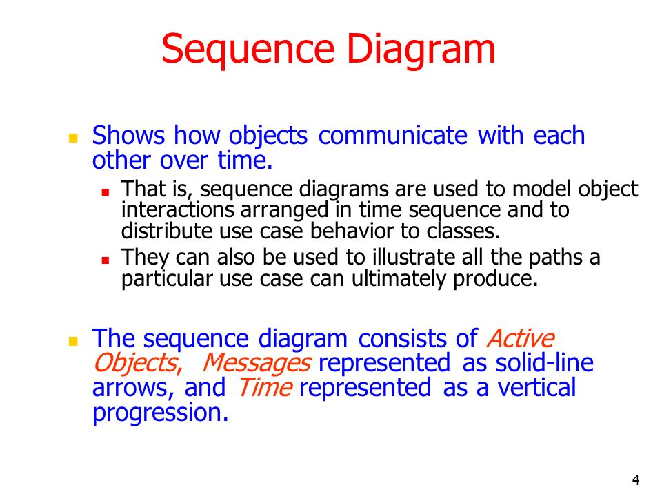 4 Sequence Diagram Shows how objects communicate with each other over time. That is, sequence diagrams are used to model object interactions arranged