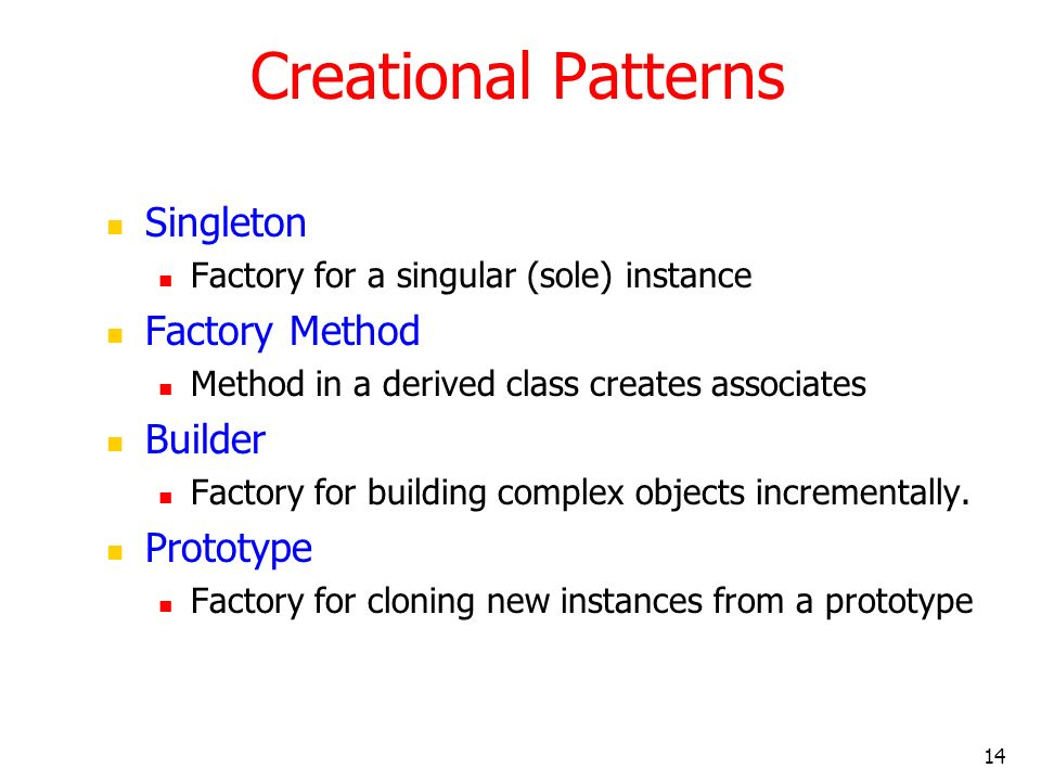 14 Creational Patterns Singleton Factory for a singular (sole) instance Factory Method Method in a derived class creates associates Builder Factory fo