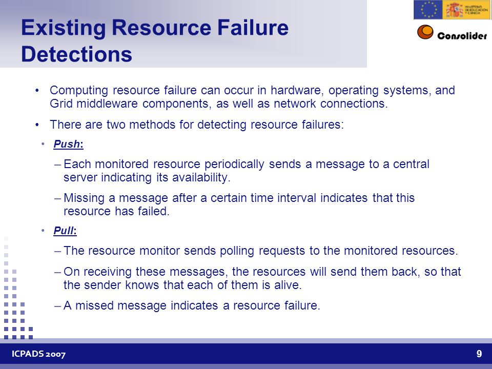 ICPADS Existing Resource Failure Detections Computing resource failure can occur in hardware, operating systems, and Grid middleware components, as well as network connections.