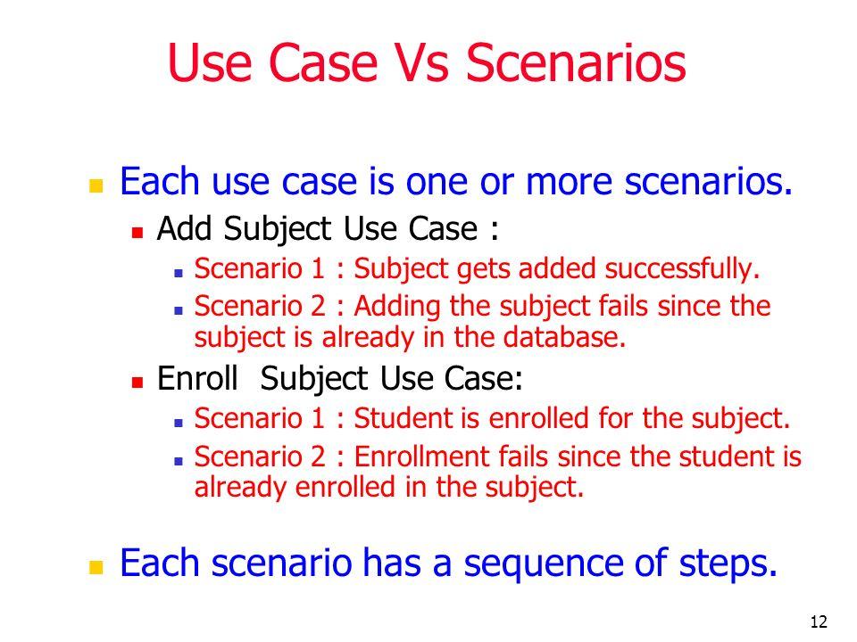 12 Use Case Vs Scenarios Each use case is one or more scenarios. Add Subject Use Case : Scenario 1 : Subject gets added successfully. Scenario 2 : Add