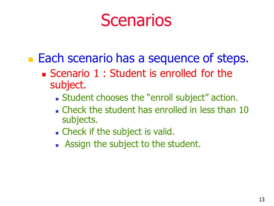 13 Scenarios Each scenario has a sequence of steps. Scenario 1 : Student is enrolled for the subject. Student chooses the enroll subject action. Check
