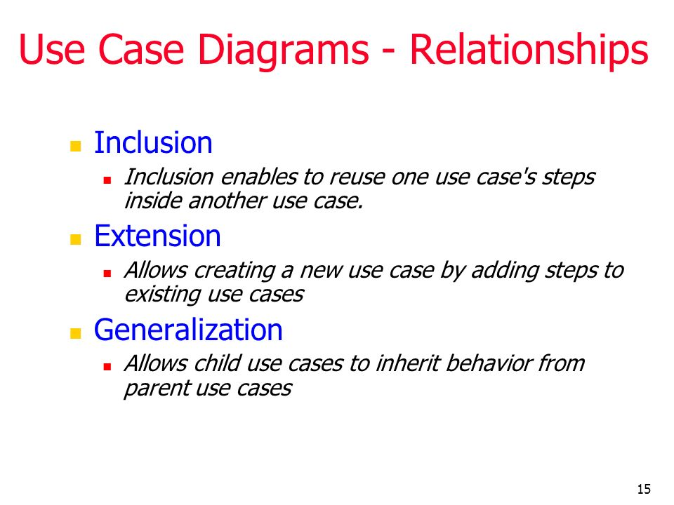 15 Use Case Diagrams - Relationships Inclusion Inclusion enables to reuse one use case's steps inside another use case. Extension Allows creating a ne