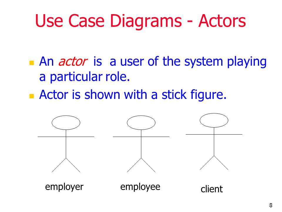 19 Use Case – Example (self service machine – generalize relationship): Actor-to-Actor relationship Supplier Agent Restocker Collector generalized actor specialized actor
