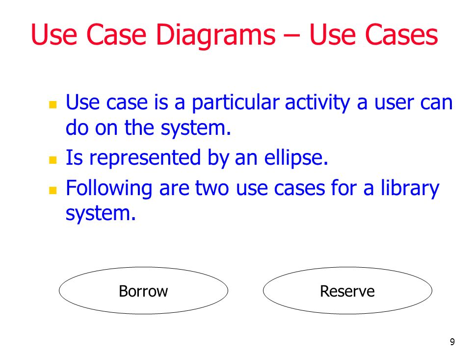 9 Use Case Diagrams – Use Cases Use case is a particular activity a user can do on the system. Is represented by an ellipse. Following are two use cas