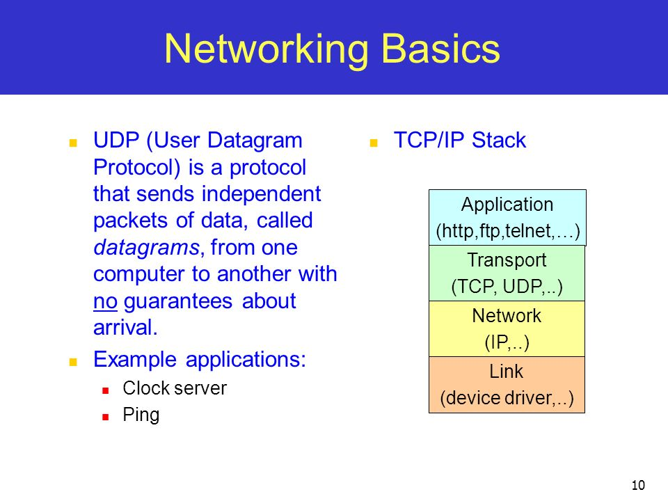 10 Networking Basics UDP (User Datagram Protocol) is a protocol that sends independent packets of data, called datagrams, from one computer to another