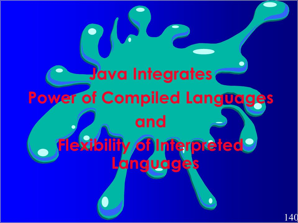 140 Java Integrates Power of Compiled Languages and Flexibility of Interpreted Languages