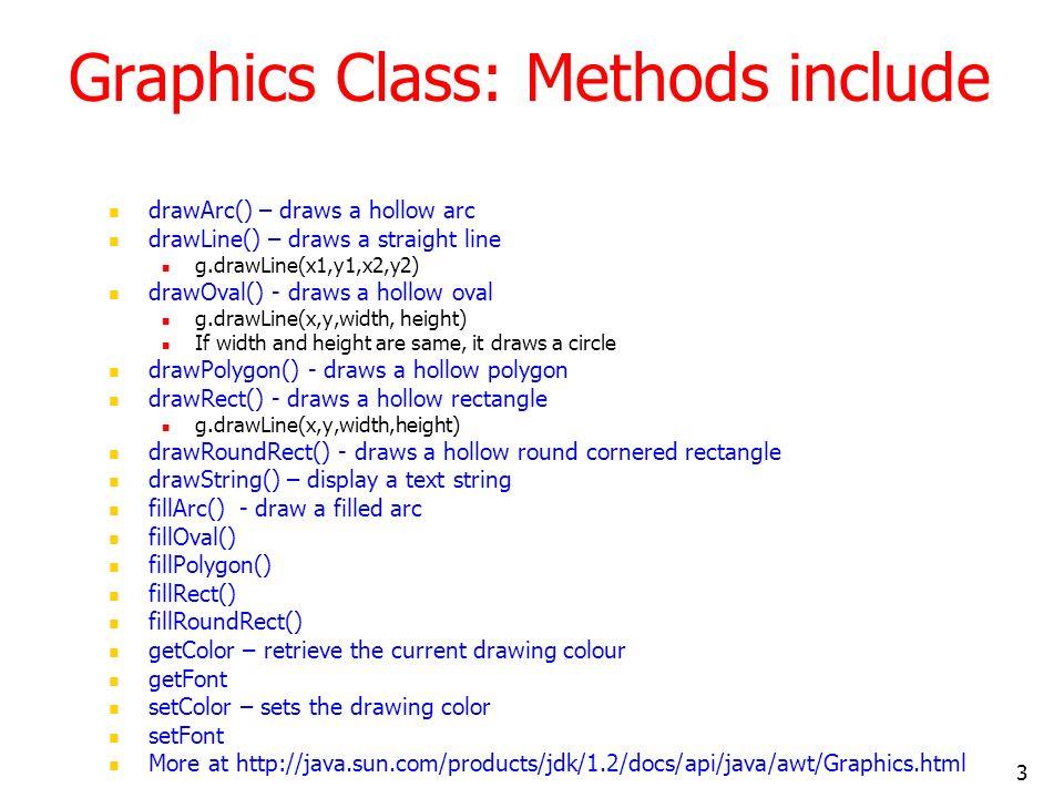 3 Graphics Class: Methods include drawArc() – draws a hollow arc drawLine() – draws a straight line g.drawLine(x1,y1,x2,y2) drawOval() - draws a hollo
