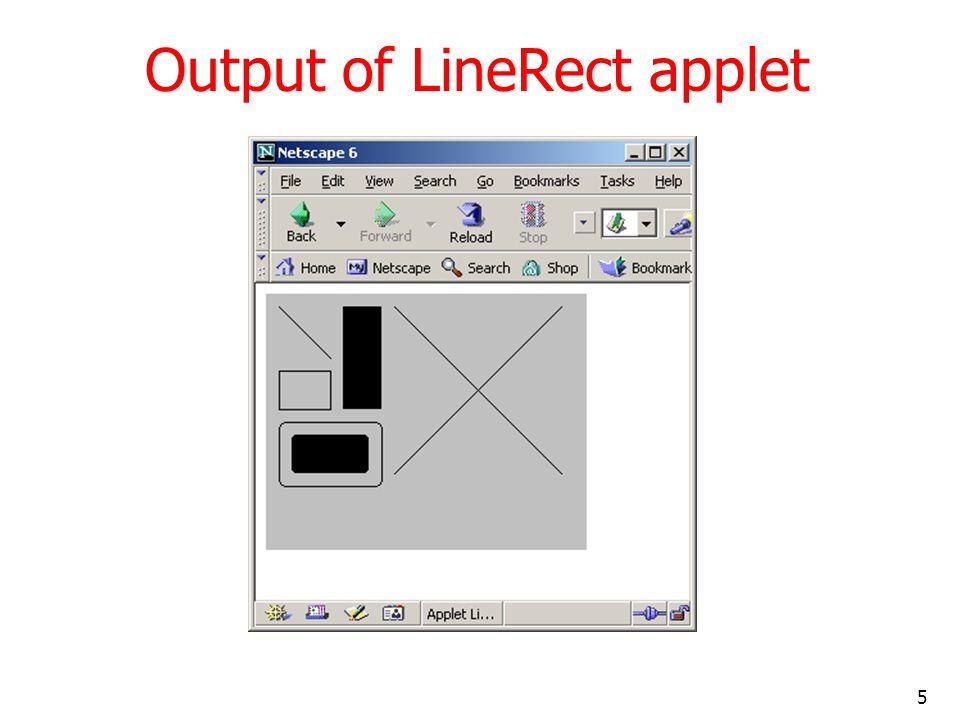 5 Output of LineRect applet