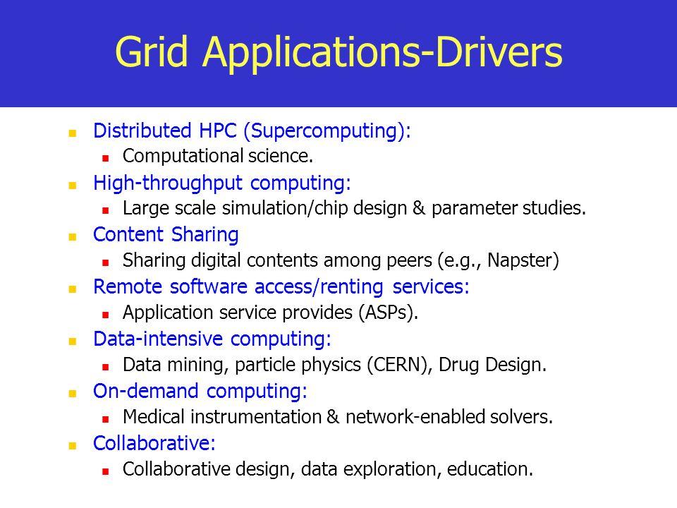 Grid Applications-Drivers Distributed HPC (Supercomputing): Computational science. High-throughput computing: Large scale simulation/chip design & par