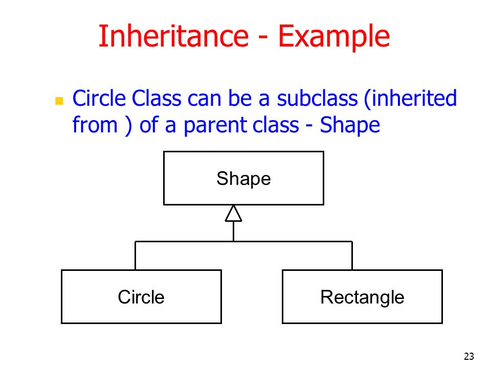 23 Inheritance - Example Circle Class can be a subclass (inherited from ) of a parent class - Shape Shape CircleRectangle