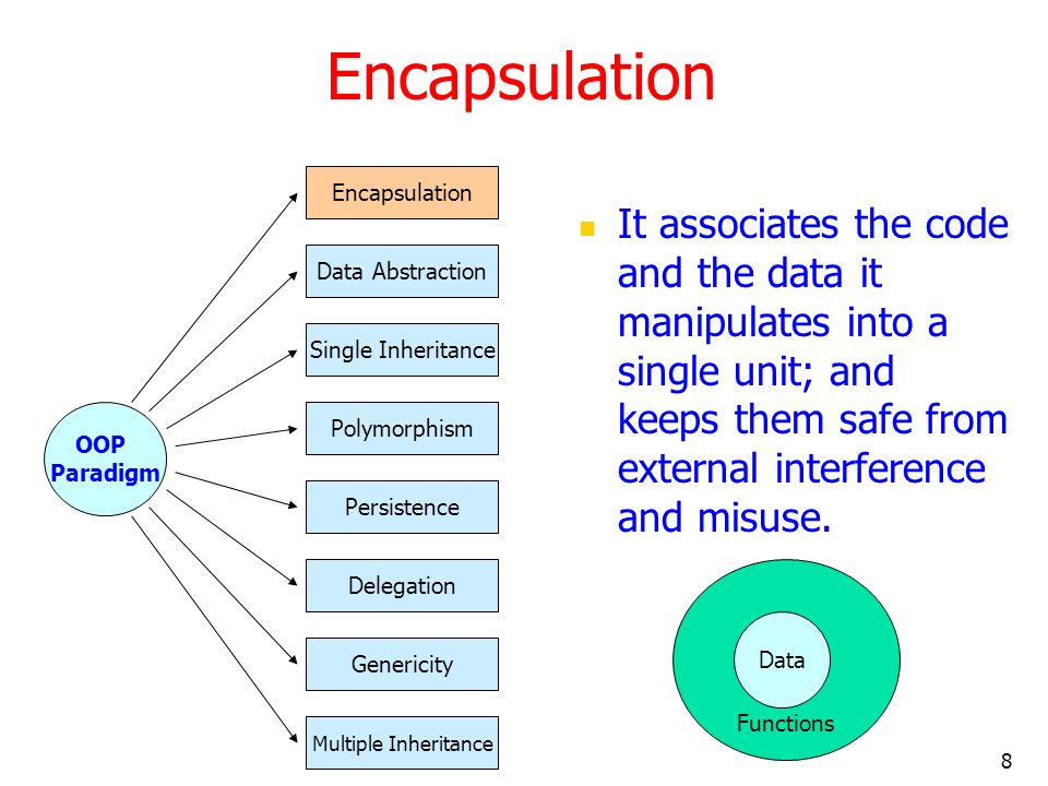 8 Encapsulation It associates the code and the data it manipulates into a single unit; and keeps them safe from external interference and misuse. OOP