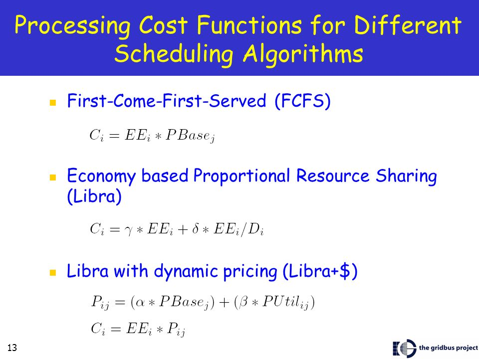 13 Processing Cost Functions for Different Scheduling Algorithms First-Come-First-Served (FCFS) Economy based Proportional Resource Sharing (Libra) Libra with dynamic pricing (Libra+$)