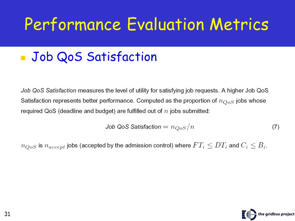 31 Job QoS Satisfaction Performance Evaluation Metrics