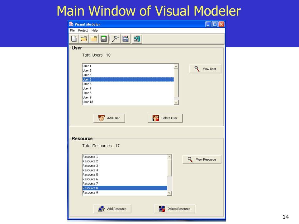 14 Main Window of Visual Modeler