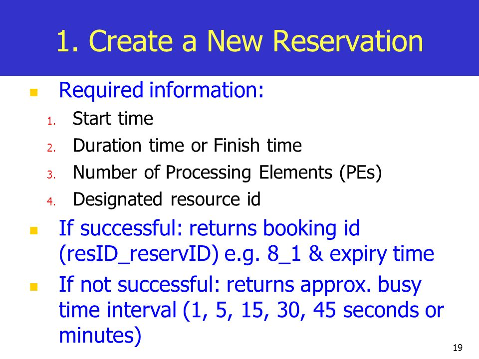 19 1. Create a New Reservation Required information: 1. Start time 2. Duration time or Finish time 3. Number of Processing Elements (PEs) 4. Designate