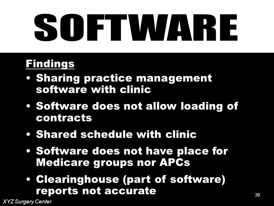 38 Findings Sharing practice management software with clinic Software does not allow loading of contracts Shared schedule with clinic Software does not have place for Medicare groups nor APCs Clearinghouse (part of software) reports not accurate XYZ Surgery Center 38