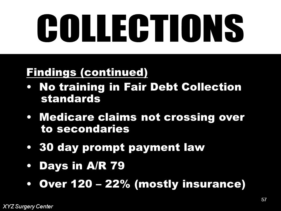57 XYZ Surgery Center Findings (continued) No training in Fair Debt Collection standards Medicare claims not crossing over to secondaries 30 day prompt payment law Days in A/R 79 Over 120 – 22% (mostly insurance) 57