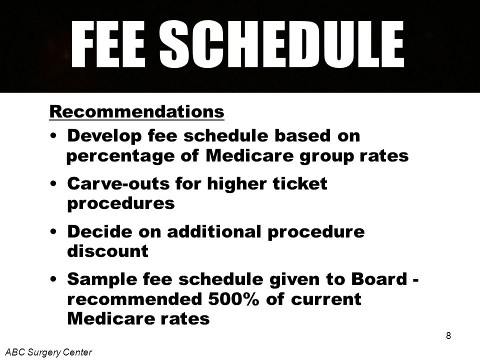 8 Recommendations Develop fee schedule based on percentage of Medicare group rates Carve-outs for higher ticket procedures Decide on additional procedure discount Sample fee schedule given to Board - recommended 500% of current Medicare rates ABC Surgery Center