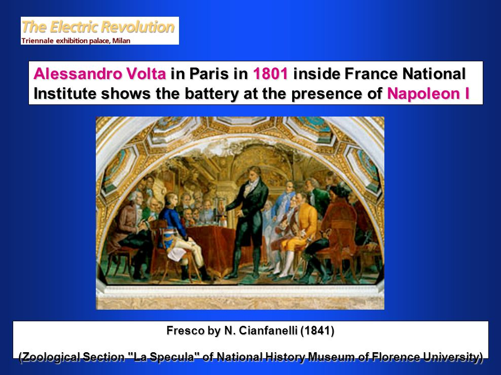 Alessandro Volta in Paris in 1801 inside France National Institute shows the battery at the presence of Napoleon I Fresco by N.