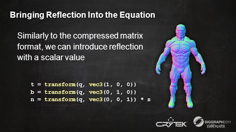 Bringing Reflection Into the Equation Similarly to the compressed matrix format, we can introduce reflection with a scalar value t = transform(q, vec3